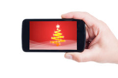 Simple greeting design on smartphone display or screen Royalty Free Stock Photos