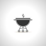 Simple grill icon. Black  emblem. Simple grill icon. Black Brazier emblem. Cooking tools symbol Stock Photo