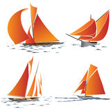 Simple  group of boat with orange sails. Royalty Free Stock Photos