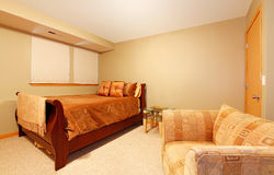 Simple guest bedroom Royalty Free Stock Images