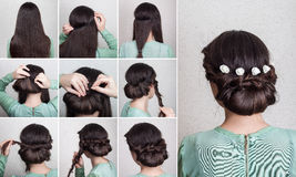 Simple hairdo self tutorial stock photography