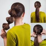 Simple hairstyle tutorial Stock Photos