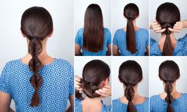 Simple hairstyle tutorial for long hair stock photography