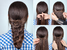 Simple hairstyle tutorial Stock Images