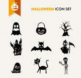 Simple Halloween icon set. Royalty Free Stock Photos