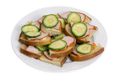 Simple ham and cucumber sandwiches Royalty Free Stock Image