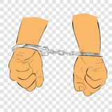 Simple Hand Draw Sketch Flat Color, Ilustration for under arrest, man with Handcuff at transparent effect background. Vector Simple Hand Draw Sketch Flat Color stock illustration