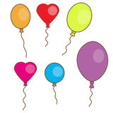 Simple hand drawn balloons isolated on white. Round, oval and heart shaped Royalty Free Stock Image