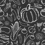 Simple hand drawn doodle vegetables on black board seamless pattern Stock Photos