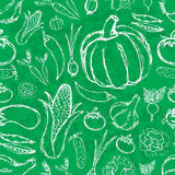 Simple hand drawn doodle vegetables on green board seamless pattern Stock Photography