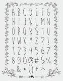 Simple Hand Drawn English Alphabet Letters and Royalty Free Stock Images