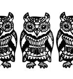 Simple Hand drawn Owl Sketch black blue pattern Royalty Free Stock Photography