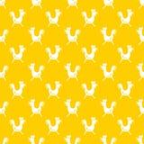 Simple hand drawn seamless vector cartoon cock pattern yellow Royalty Free Stock Photos