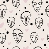 Simple hand drawn trendy line portrait art. Seamless pattern. Print for clothes, textile and other. Vector vector illustration