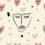 Simple hand drawn trendy line portrait art. Seamless pattern. Print for clothes, textile and other. Vector stock illustration