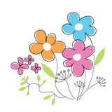 Simple hand drawn vector colorful spring flowers. Stock Image