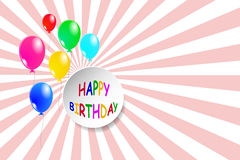Simple Happy Birthday card with balloons Royalty Free Stock Photos