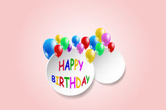 Simple Happy Birthday card in pink color Royalty Free Stock Images