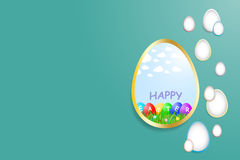 Simple Happy Easter green card Stock Photos