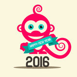 Simple Happy New Year 2016 with Monkey. And Ribbon Vector Flat Design Illustration vector illustration