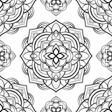 Simple harmonic pattern of mandalas. Vector seamless pattern on a white background. Template for textiles, carpets, wallpaper Royalty Free Stock Photos