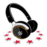 Simple Headphones and stars Stock Photos