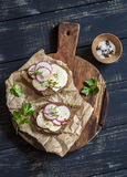 Simple healthy breakfast or snack - cheese radish and rye bread sandwich Royalty Free Stock Photos