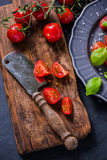 Simple and healthy dish, tomato and basil Royalty Free Stock Images