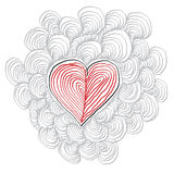 Simple heart hand-drawn illustration, Valentine Day concept. Royalty Free Stock Photography