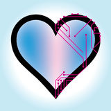 Simple heart vector illustration with printed circuits Stock Images