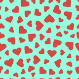 Simple hearts seamless  pattern. Valentines day background. Flat design endless chaotic texture made of tiny heart silhouett Royalty Free Stock Image