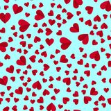 Simple hearts seamless  pattern. Valentines day background. Flat design endless chaotic texture made of tiny heart silhouett Stock Images
