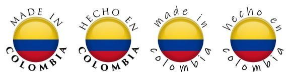 Simple hecho en Colombia/muestra española del botón de la traducción 3D T ilustración del vector