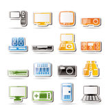 Simple Hi-tech equipment icons Stock Photography