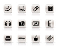 Simple Hi-tech technical equipment icons Royalty Free Stock Images