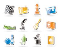 Simple Hobby, Leisure and Holiday Icons Royalty Free Stock Photos