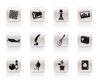 Simple Hobby, Leisure and Holiday Icons - Vector I. Con Set Royalty Free Stock Photos
