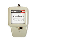 Electricity meter isolated on white Stock Images