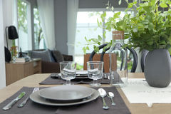 Simple home table setting. Glasses and cutlery and green plant Stock Images