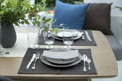 Simple home table setting. Glasses and cutlery and green plant Stock Photography
