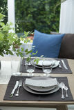 Simple home table setting. Glasses and cutlery and green plant Royalty Free Stock Photos