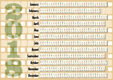 Simple horizontal calendar in unusual design. Retro beige background. Simple horizontal calendar in unusual design. Retro beige background, Months in horizontal Royalty Free Stock Photography