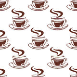 Simple hot coffee cups seamless pattern Stock Photo