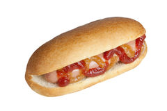 Simple hot dog. With ketchup and mustard image isolated on a white background Stock Photos