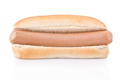 Simple Hotdog isolated on white Stock Photos