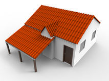 Simple house model. 3D render illustration of a simple house model. The composition is isolated on a white background with shadows Stock Photo