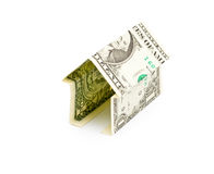 Simple house from one dollar bank note isolated Royalty Free Stock Images