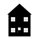 Simple House outline. Simple design of the typical house in black, set on a white background Royalty Free Stock Images