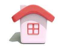 Simple house with red roof. Front view of an isolated 3d house with red roof and window on white background vector illustration