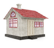 Simple house with red roof Royalty Free Stock Images